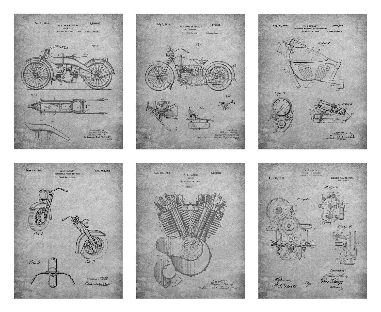 Harley Davidson Patent Prints - Six Prints
