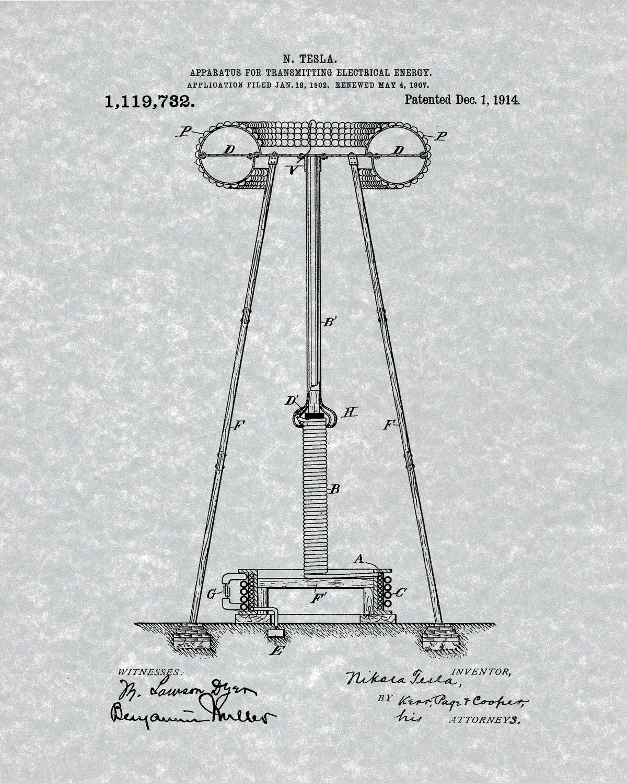Nikola Tesla Patent Prints - Gray - Six Unframed Prints