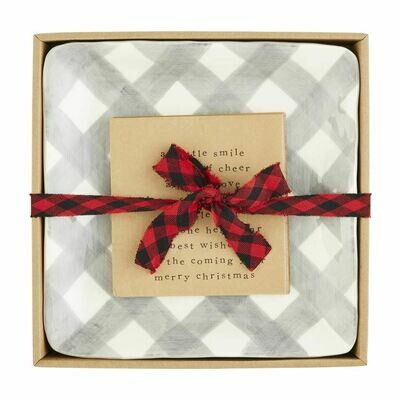 Grey Gingham Cheese Plate Set