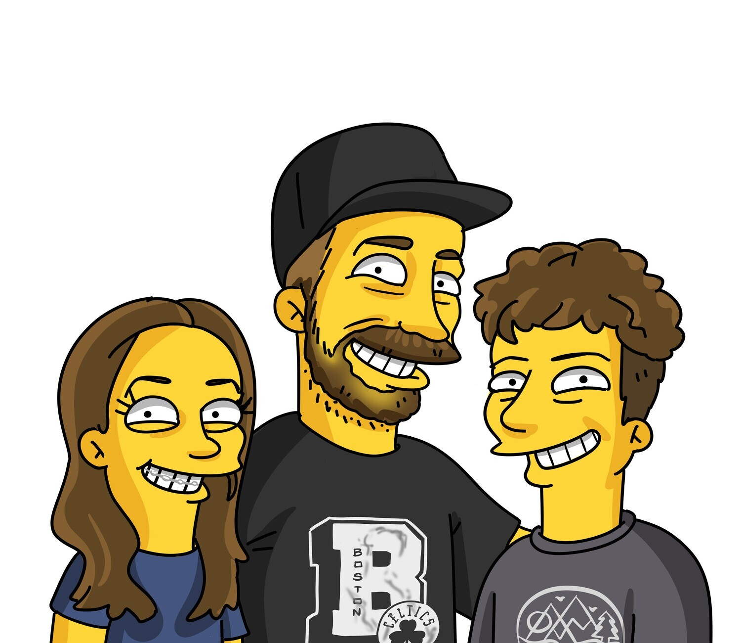 3 PERSON PORTRAIT HAND DRAWN AND EMAILED TO YOU WITHIN 10 DAYS, REVISED UNTIL YOU ARE HAPPY