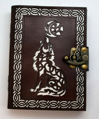 Celtic Wolf/Moon Leather Embossed Die Cut Journal