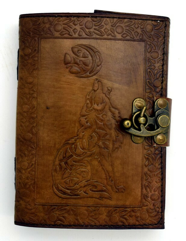 Celtic Wolf & Moon Leather Journal