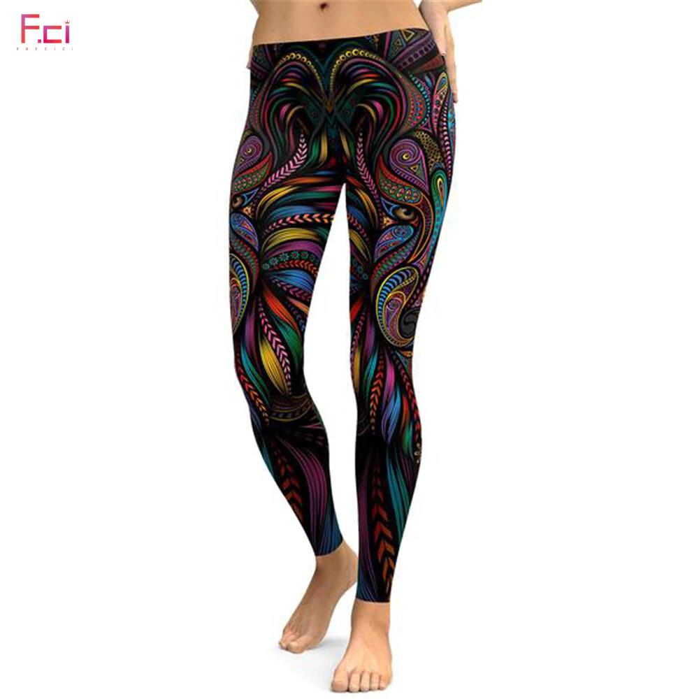 Leggings 3D Printed Colorful Wolf Women's
