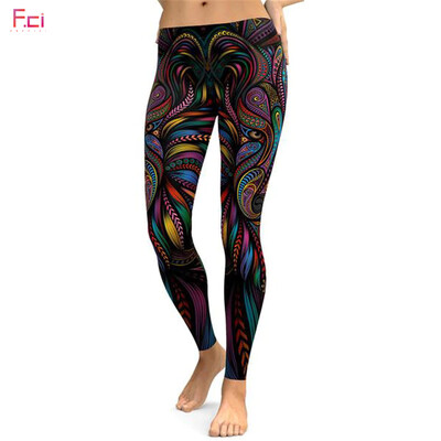 Clearance - Leggings 3D Printed Colorful Wolf Women's