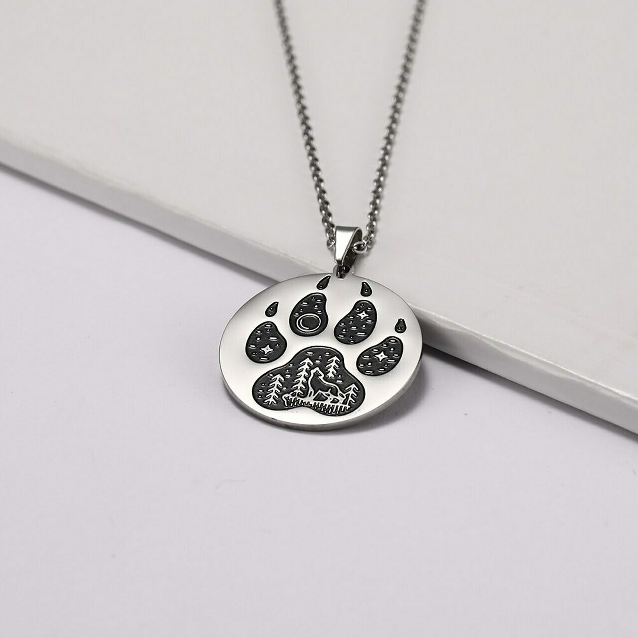 Necklace - Paw Print w/Scene
