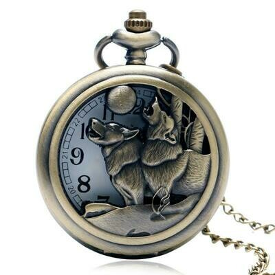 Pocket Watch Howling Wolves