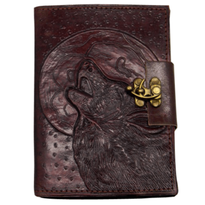 Wolf/Moon Leather Embossed Journal