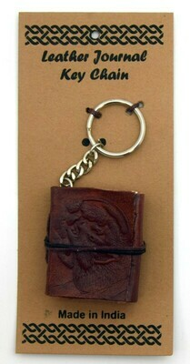 Wolf/Moon Leather Embossed Journal Keychain
