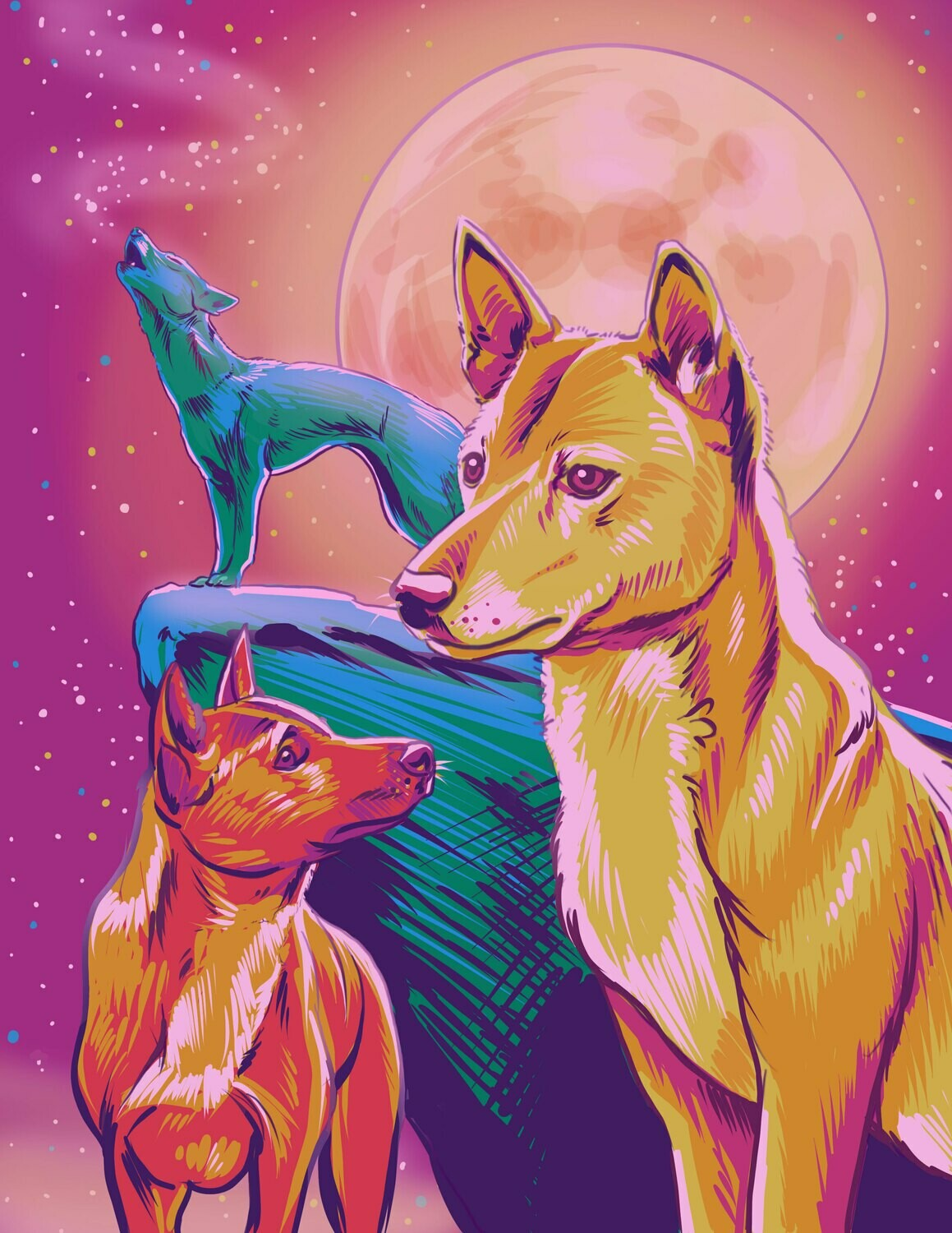 Sticker -Surreal Singing Dogs