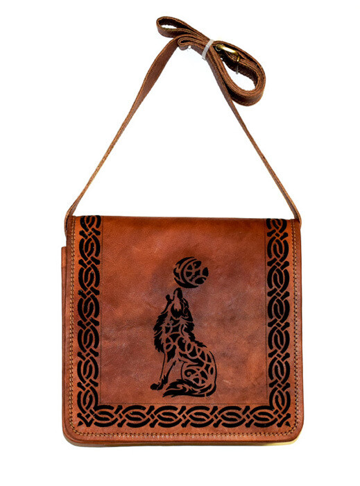 Celtic Wolf with Moon Genuine Die Cut Leather Bag