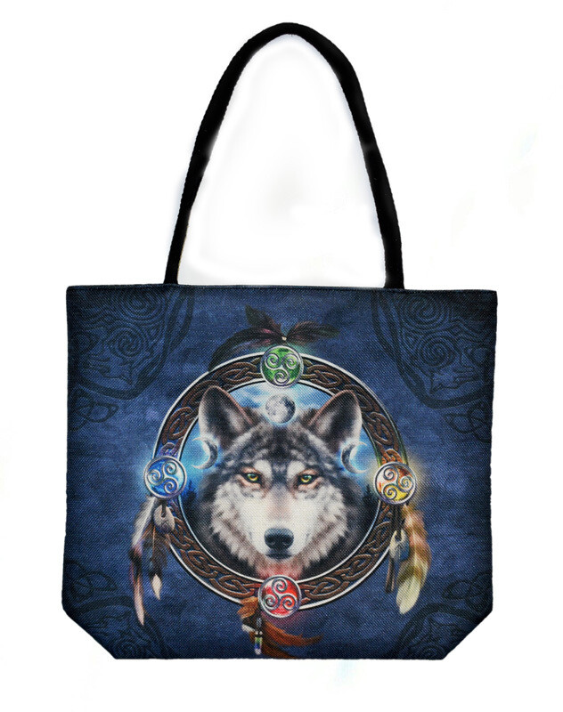 Techno Jute Celtic Wolf Guide Tote Bag