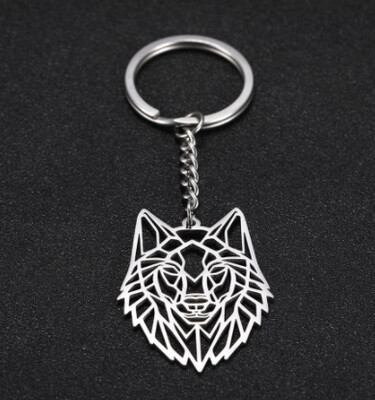 Geometric Wolf Key Chain