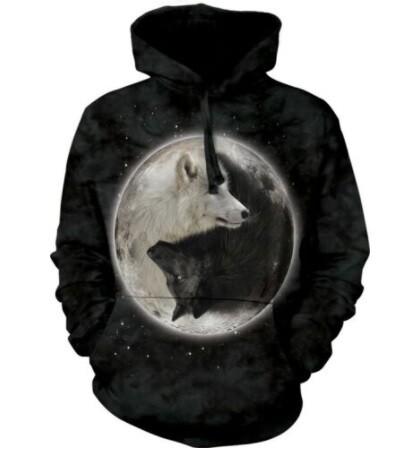 Yin Yang Wolves Unisex Hoodie