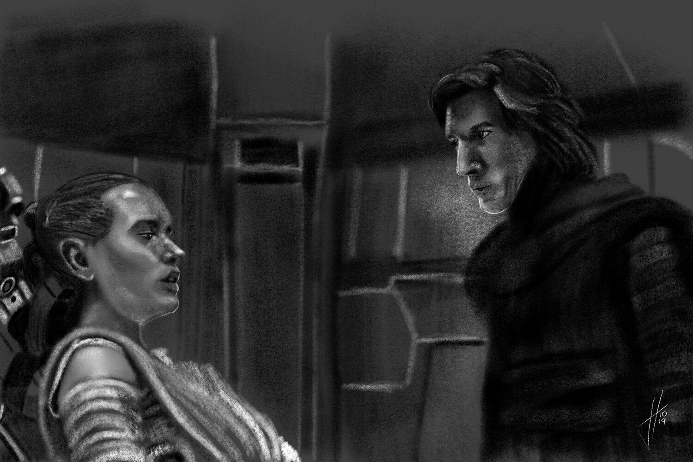 Star Wars Rey Kylo Ren art print