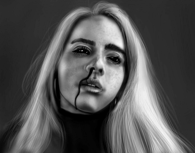 Billie Eilish (creepy version) Portrait Art Print