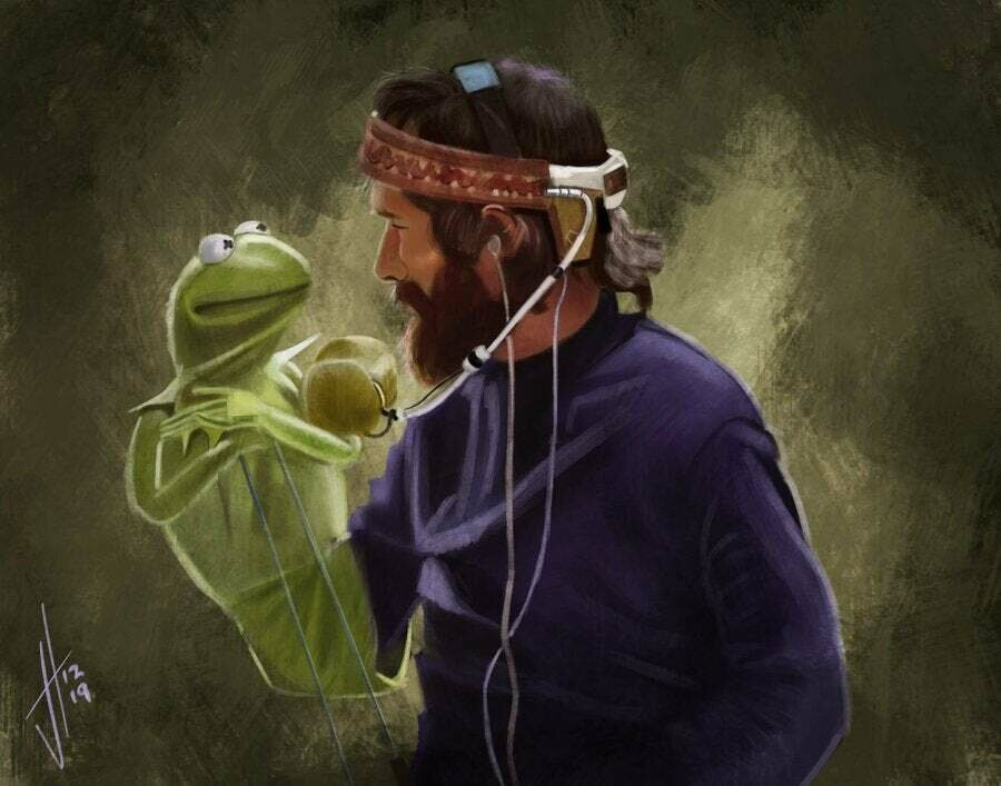 Jim Henson and Kermit T Frog art print
