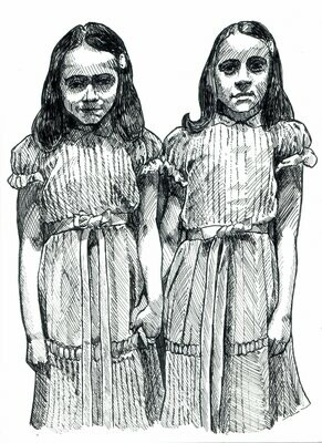 The Shining Grady Twins Drawing Print