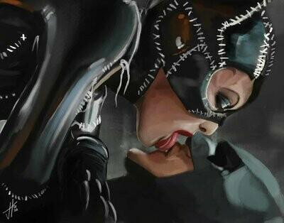 Batman Returns Catwoman Michelle Pfeiffer Michael Keaton Portrait Art Print