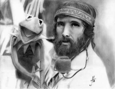 Jim Henson and Kermit T Frog portrait pencil drawing print