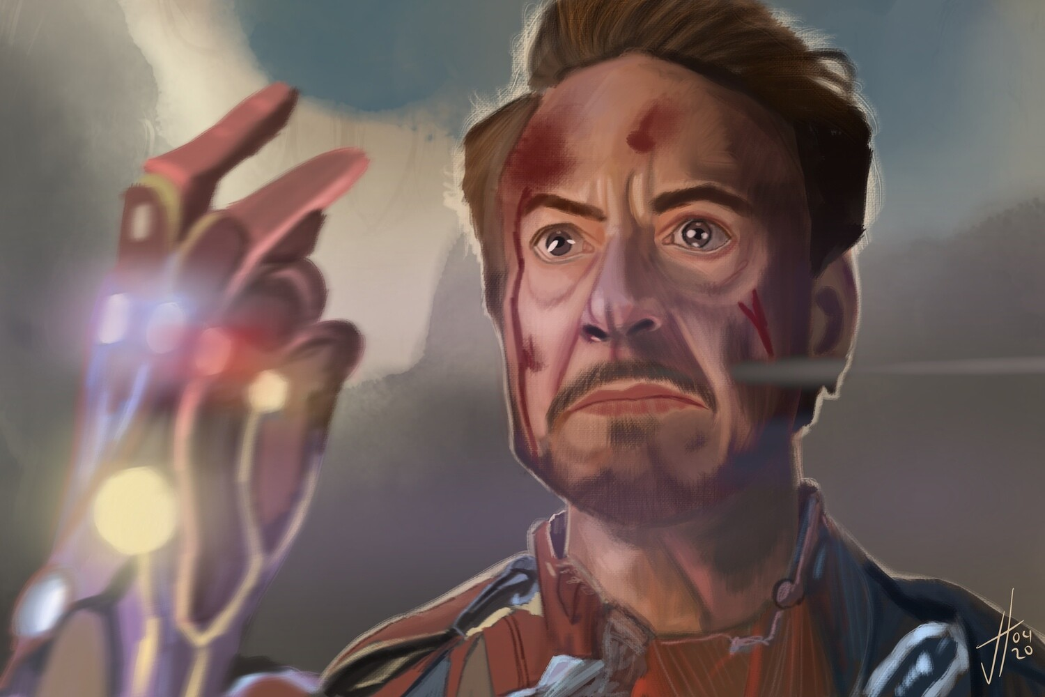 Robert Downey Jr Tony Stark Iron Man Art Print The Avengers End Game
