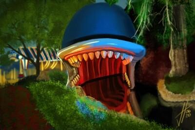 Disneyland Storybook Land Monstro Art Print