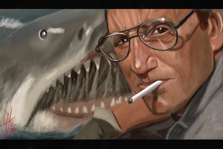 Jaws Roy Scheider Portrait Print