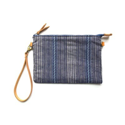 The blue handmade weaving fabric of National style,Wristlet Cosmetic Bag, Makeup Bag, travel pouch, vegetable tanned leather belt
