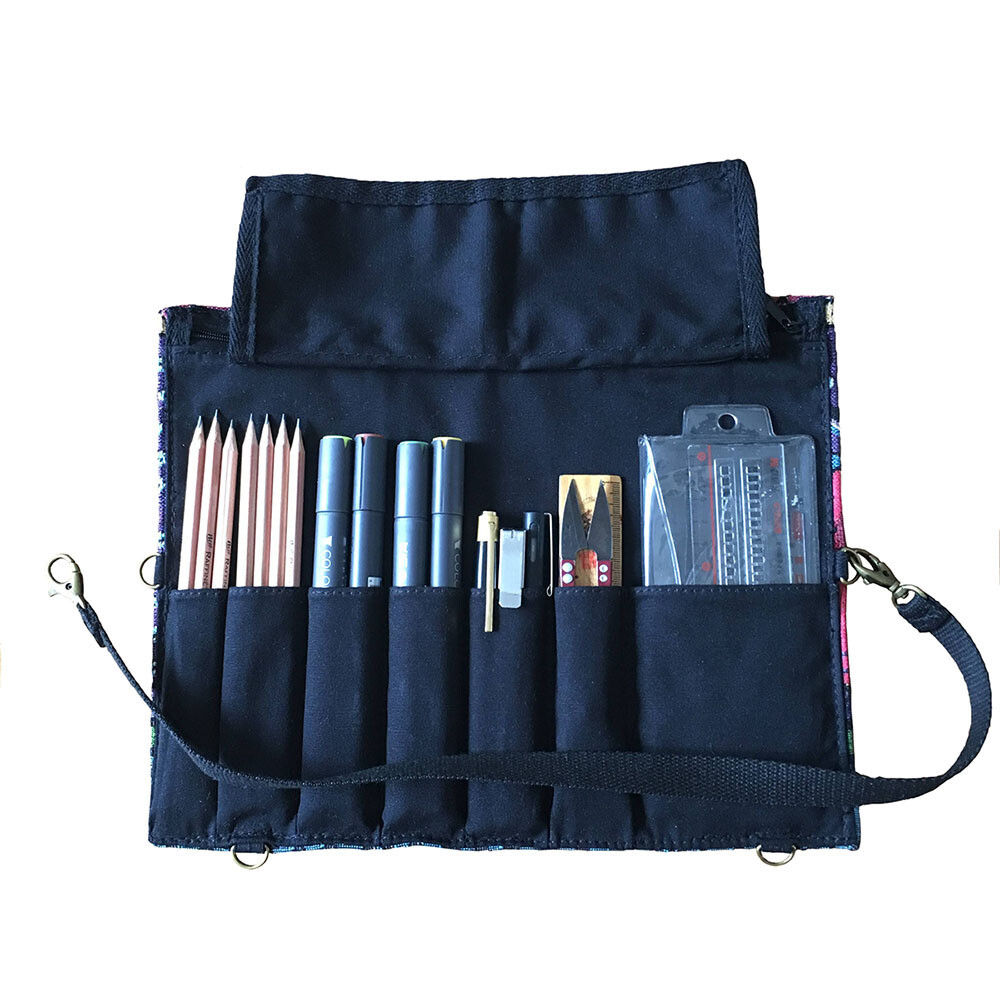 Pencil roll, artist roll,canvas roll,Fabric pencil case, pen roll, canvas tool roll case, paint brush holder, craft tool roll,pencil wrap