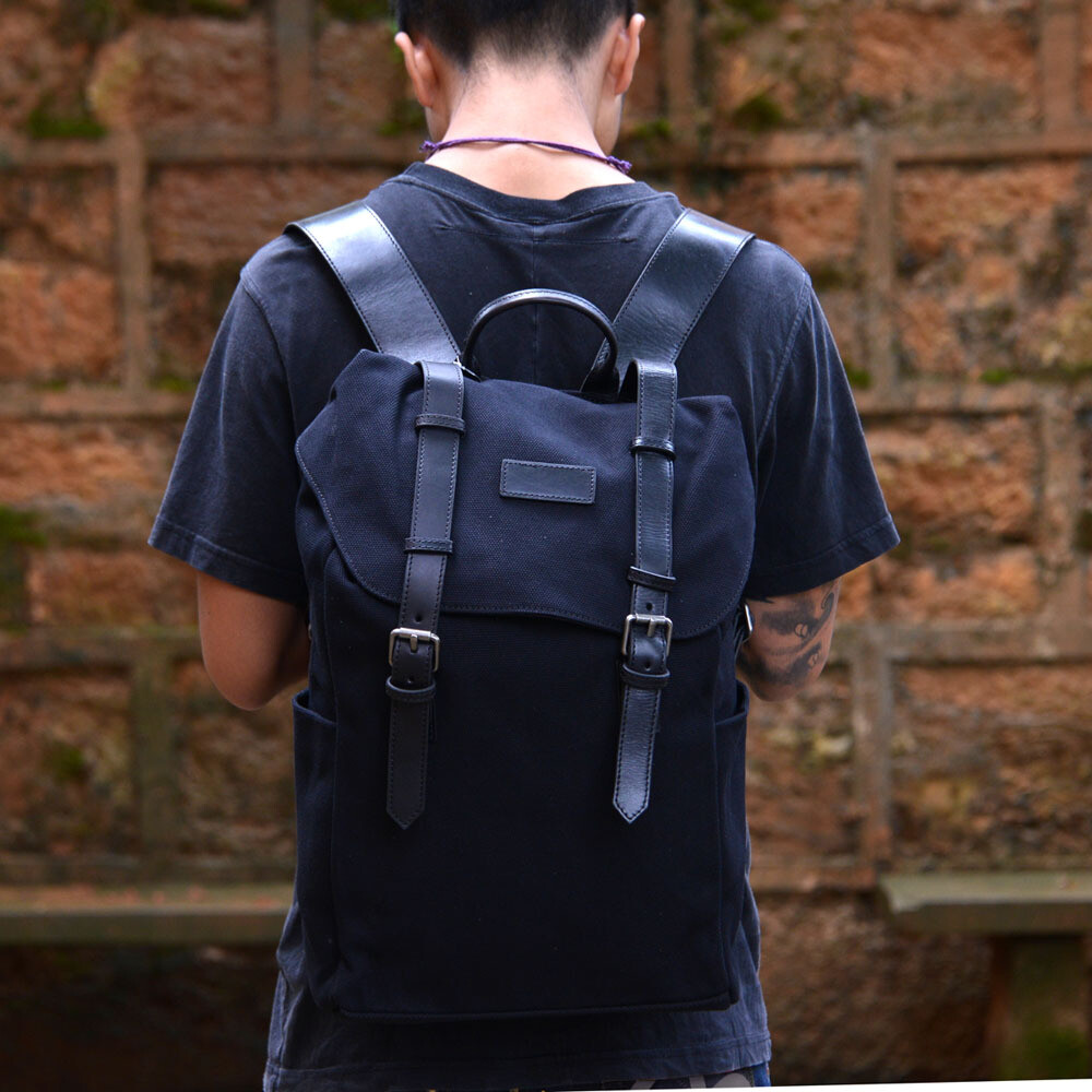 Backpack - Black Waxed Canvas
