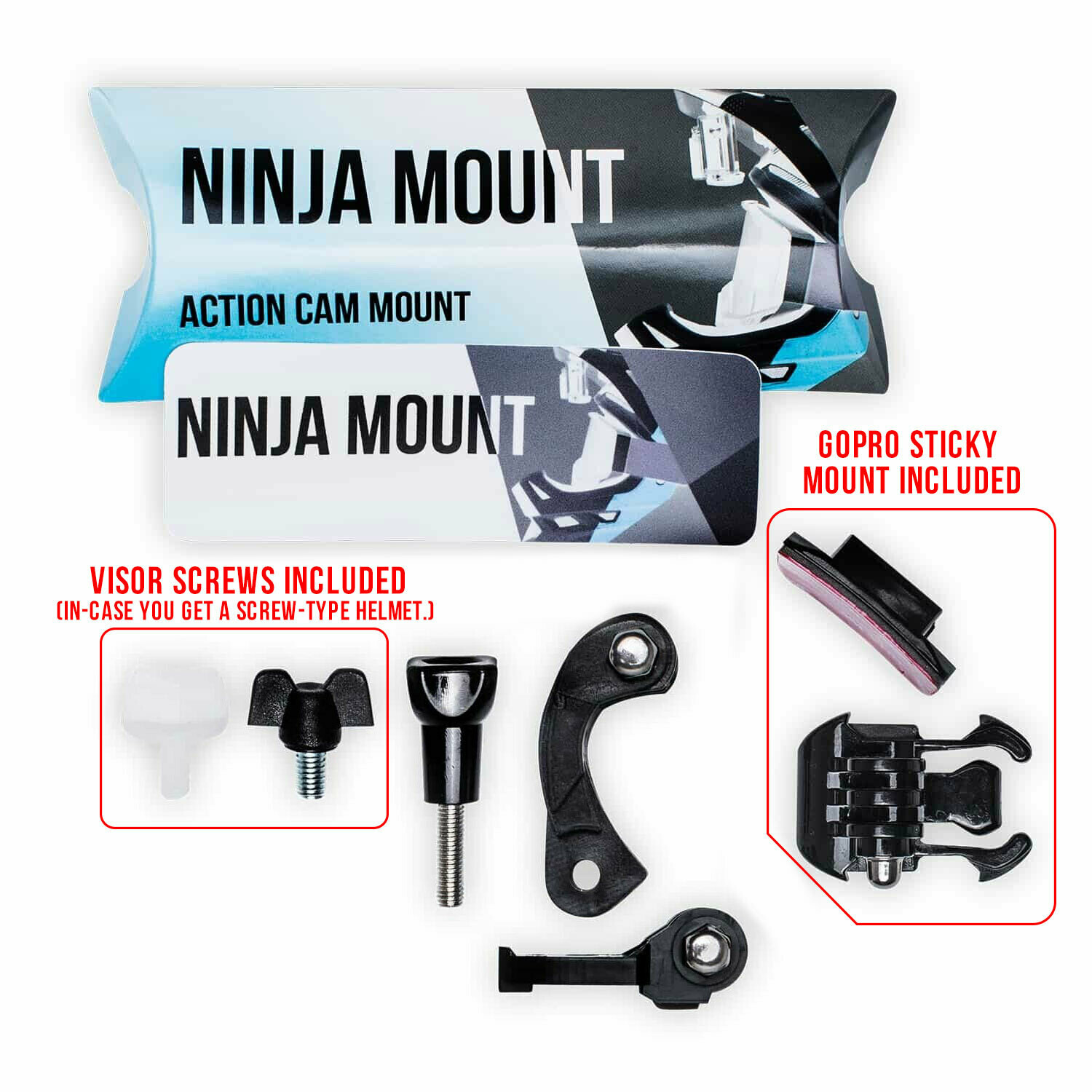 NINJA MOUNT- Sticky Mount (For Helmets WITHOUT a middle screw under the visor)