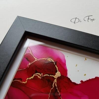 Mini pink ink art 10 x 10 cm ( 4 x 4 inch)