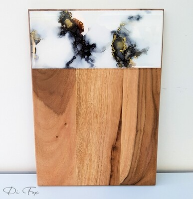 Black and White wooden cheese board
