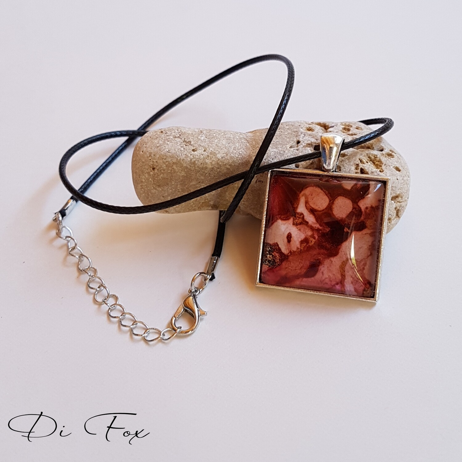 Rust Red and Pink with Gold square shape pendant necklace