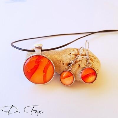 Tangerine Orange pendant necklace and earring set