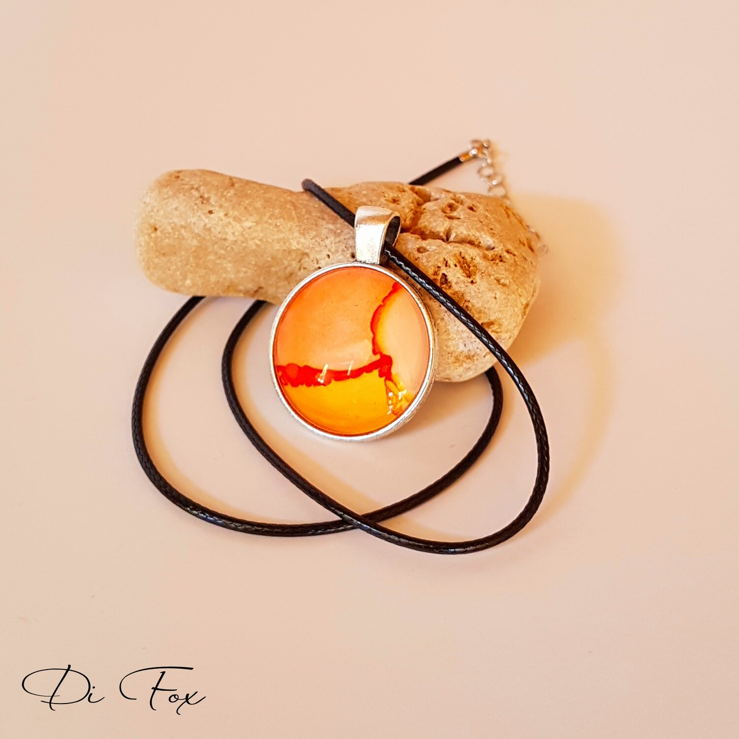 Peach and Yellow with a hint of Orange pendant necklace