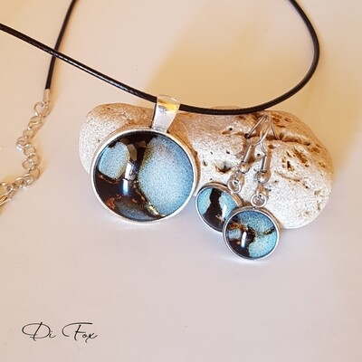 Black Blue Grey and Gold pendant necklace and earring set