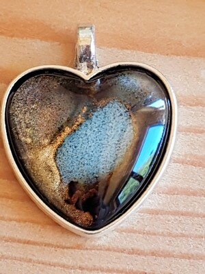 Blue Grey with Gold and Black Heart shape pendant necklace