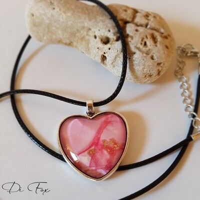 Pink and Gold Heart shape pendant necklace