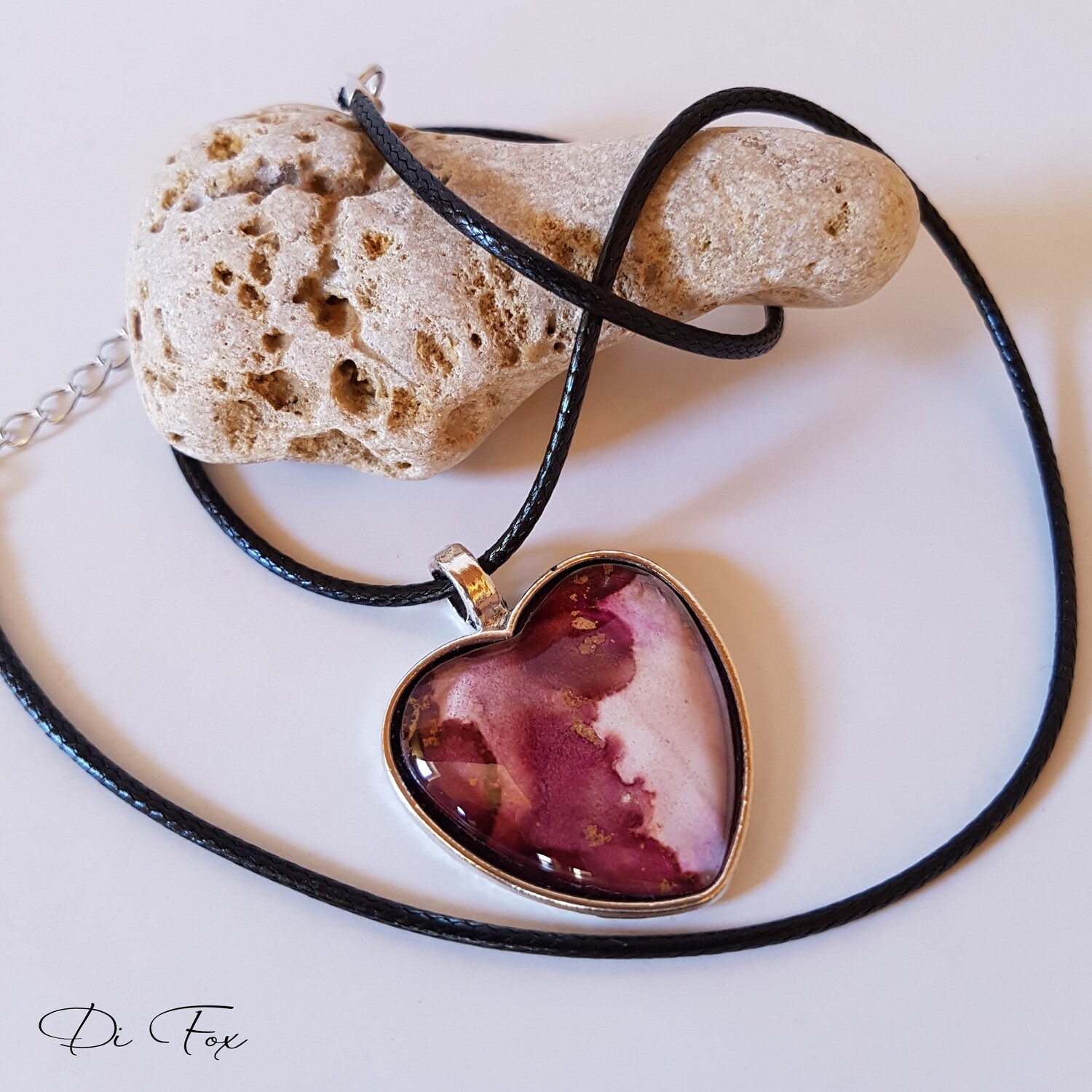 Dark Pink and pale Pink heart shape pendant necklace