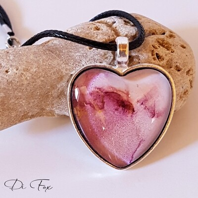 Dark Pink pale Pink with Gold shimmer Heart shape pendant necklace