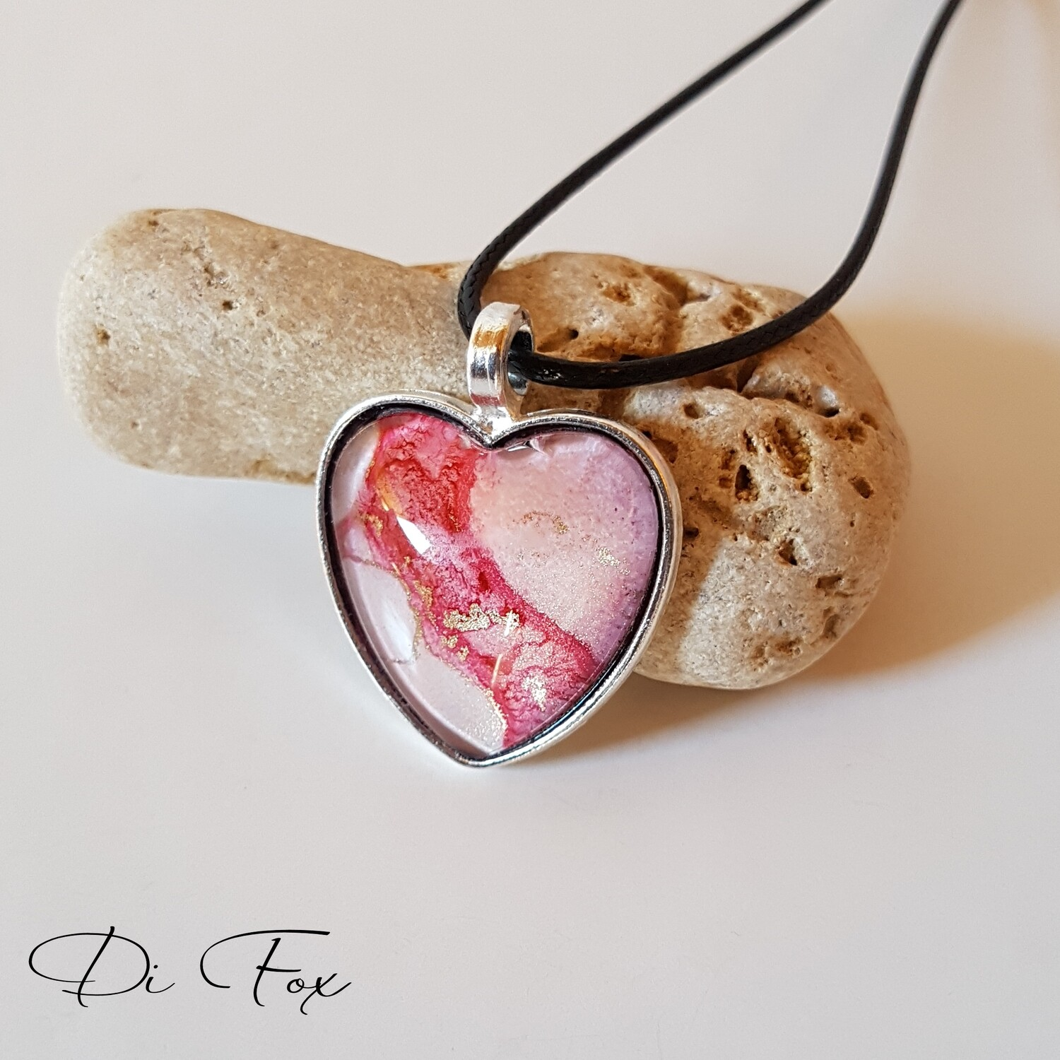 Pale Pink with bright Pink Heart shape pendant necklace