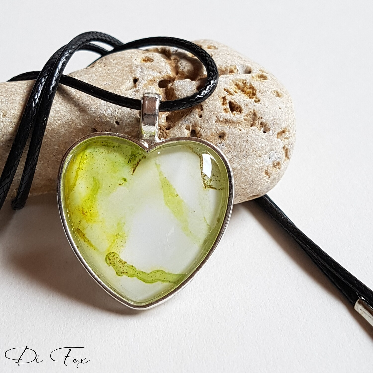 Green and White Heart shape pendant necklace