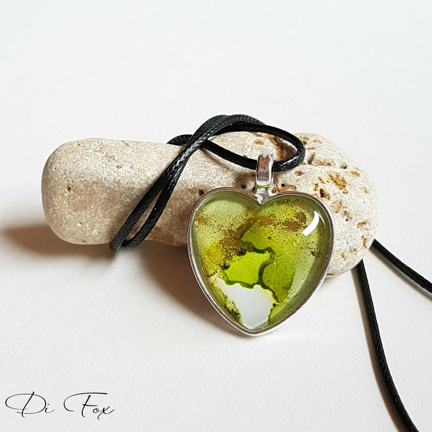 Olive Green, Gold and White Heart shape pendant necklace