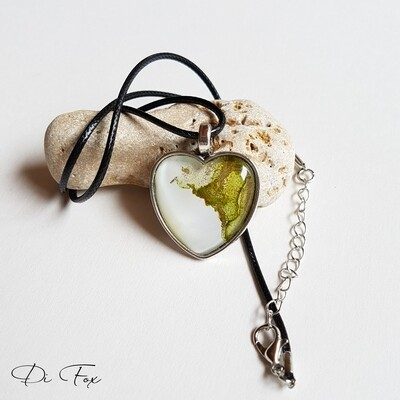 White & Olive Green with Gold Heart shape pendant necklace