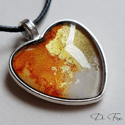 Caramel Gold and White heart shape pendant necklace