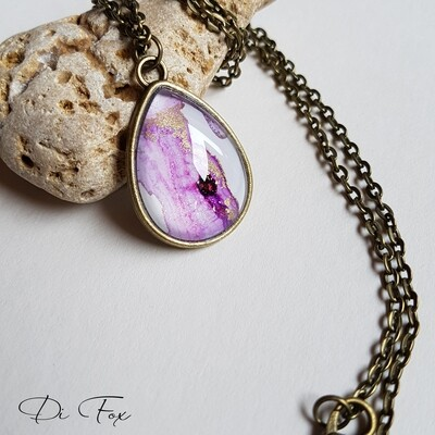 Bronze teardrop shape pendant and chain in pale Violet