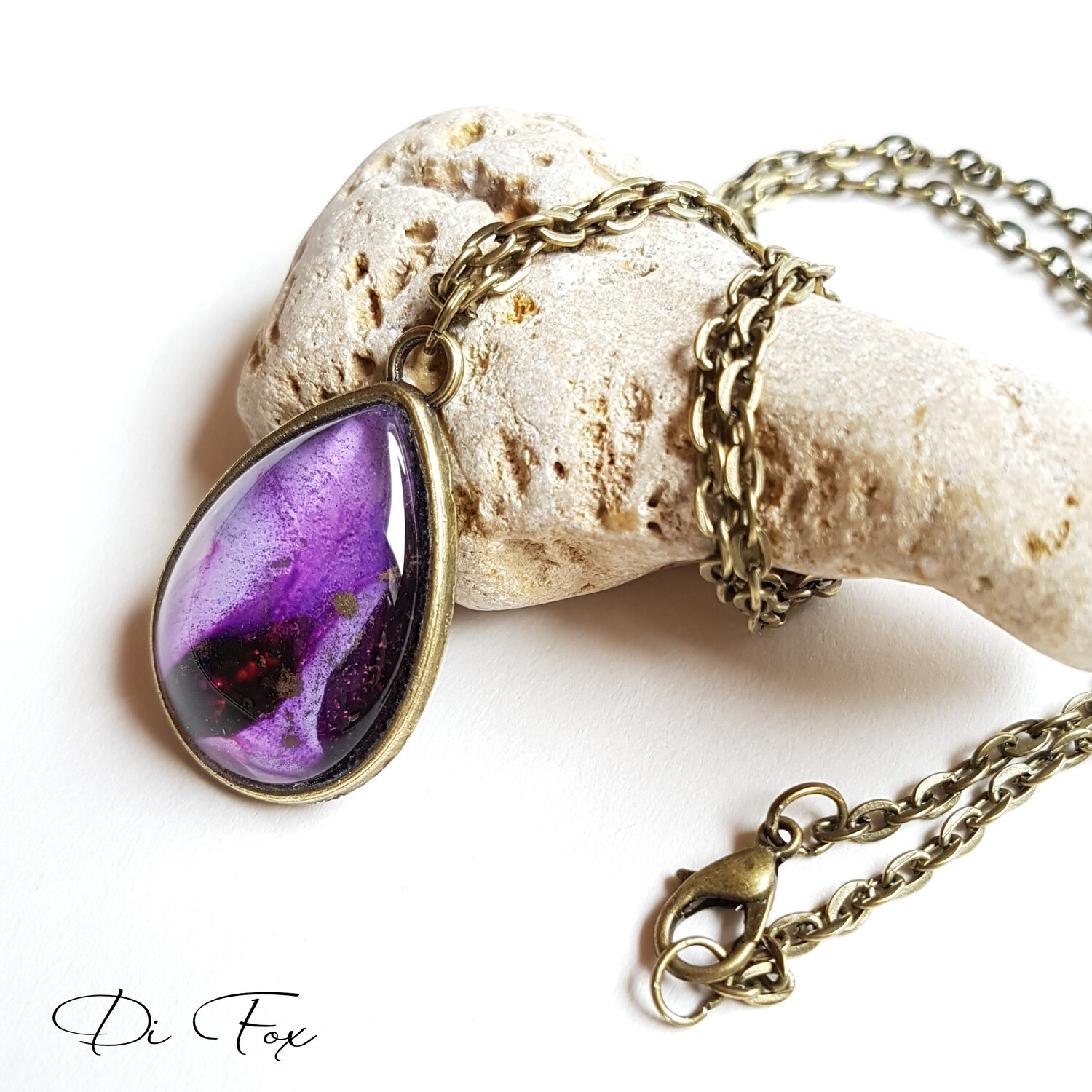Bronze teardrop pendant & chain in Deep Violet with gold