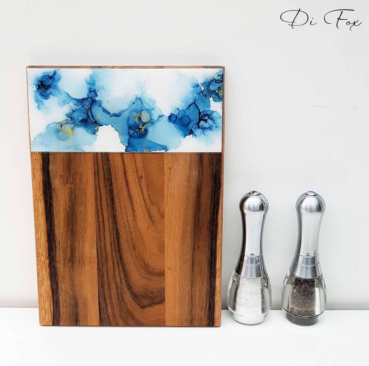 Blue Gold and White wooden cheese board