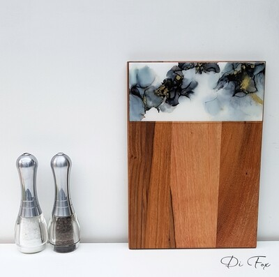 Black Grey White & Gold wooden cheese board