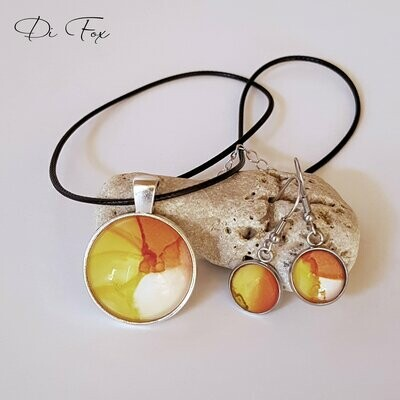 Yellow Orange White pendant necklace and earring set